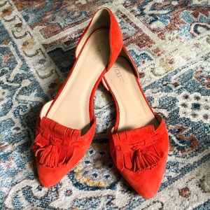J.Crew Suede Leather Tassel D'Orsay Flats